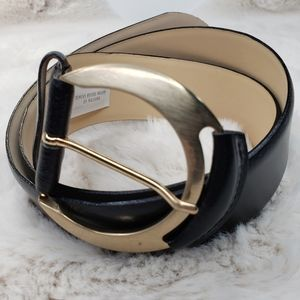 Ann Taylor Black Leather Belt Made In Italy